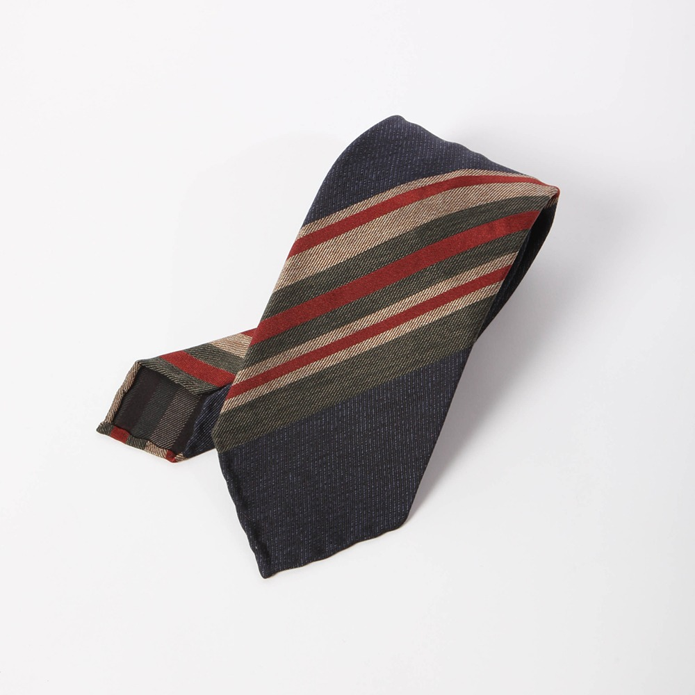 B&TAILOR Unlining 6Fold Tie  Navy - Green Stripe